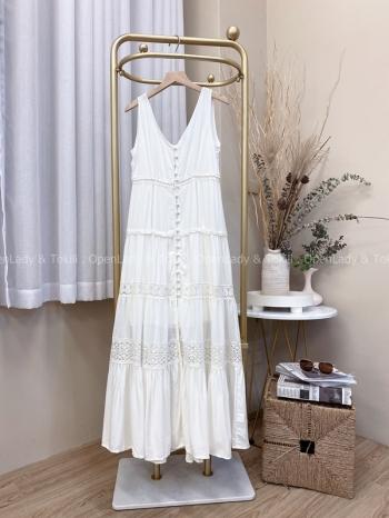 【Z822407】排釦拼接雪紡棉質洋裝