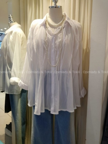 【Z923352】飄逸感壓摺雪紡襯衫