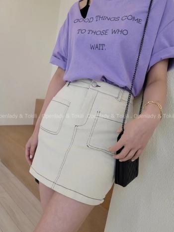 【Z923358】縫線口袋高腰短裙