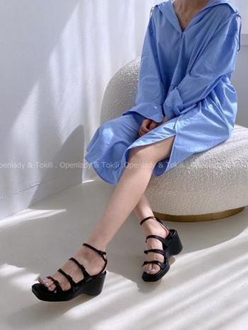 【Z923367】簡約搭釦細帶涼鞋
