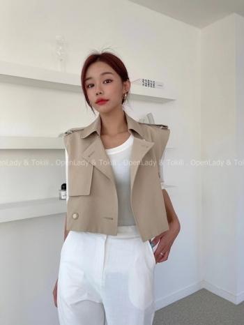 【Z923377】質感風衣無袖短版外套