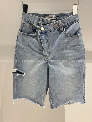 【Z923329】斜釦淺刷色五分褲