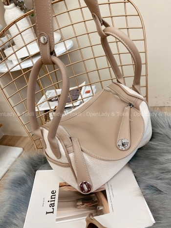 【Z822377】奶茶色拼接帆布兩用包