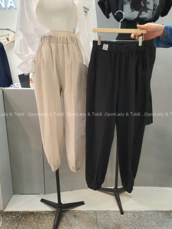 【Z923416】字母標彈性縮口褲