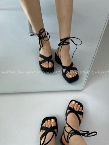 【Z923454】交叉綁帶厚底涼鞋