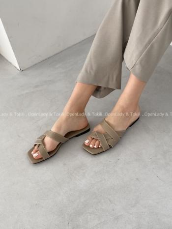 【Z923455】率性編織感平底拖鞋