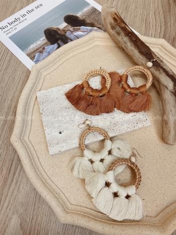 【Z822402】夏季編織流蘇耳環