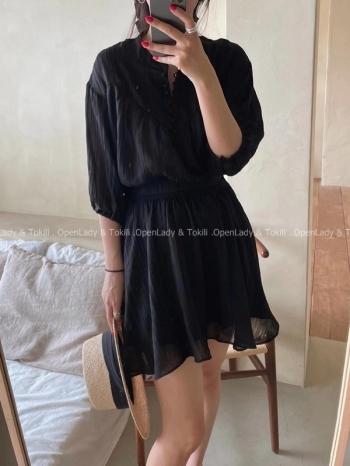 【Z923475】兩件套裝線條紋路設計雪紡衣+裙