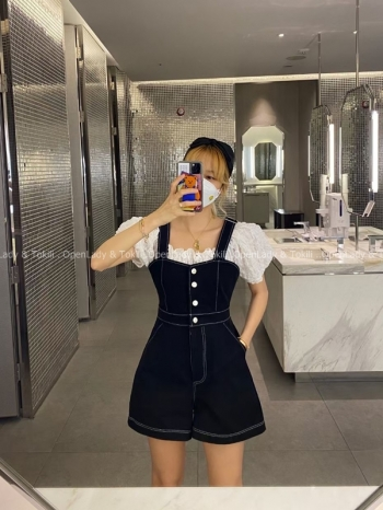 【Z923478】縫線排釦肩帶修身吊帶褲