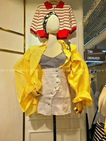 【Z923482】不規則排釦高腰褲裙