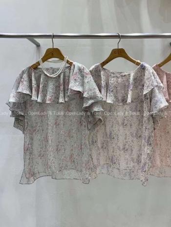 【Z923492】荷葉領花紋雪紡上衣