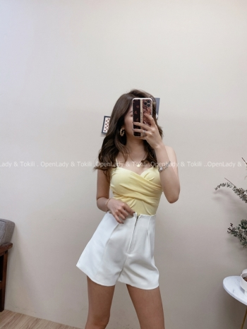 【Z822491】簡約高腰拉鍊設計短褲