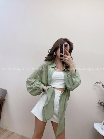 【Z822492】雪紡立體紋路綁帶襯衫