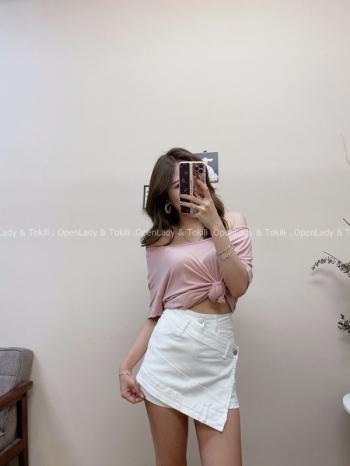 【Z822510】不規則設計牛仔褲裙