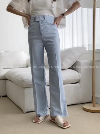【Z923497】雙釦線調高腰牛仔褲