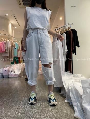【Z923502】雙釦高腰縫線直筒褲