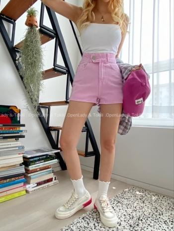 【Z923509】單釦高腰修身牛仔褲