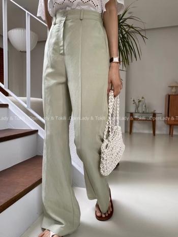 【Z923523】氣質淡綠線條直筒褲