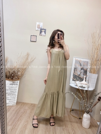 【Z822547】夏季U領修身裙擺洋裝
