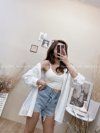 【Z822559】蕾絲紋路寬袖防曬襯衫