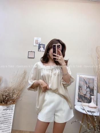 【Z822568】簡約方領純色五分袖上衣