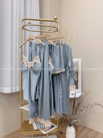【Z822580】蕾絲緞面柔滑睡衣五件組