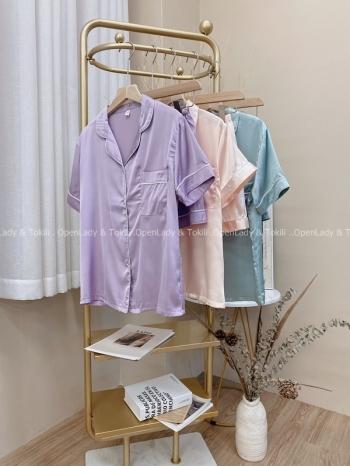 【Z822586】翻領純色簡約睡衣套裝
