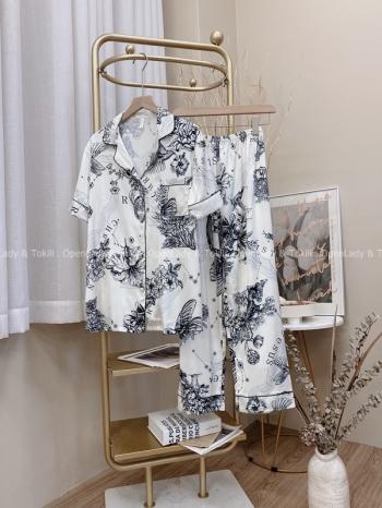 【Z822585】水墨感線條緞面睡衣套裝