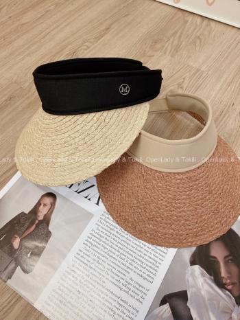 【Z923538】夏季寬帶編織遮陽草帽