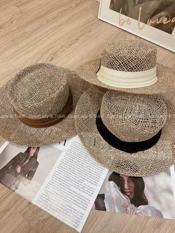 【Z923540】夏季寬帶編織透氣草帽