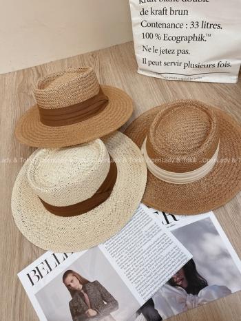 【Z923542】時髦圓頂編織平沿草帽
