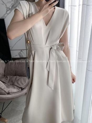 【Z923548】氣質V領綁腰洋裝