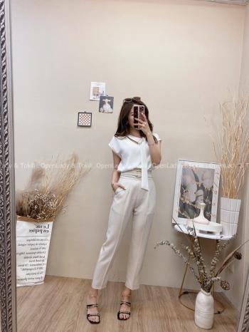 【Z822634】圓釦高腰修身西裝褲