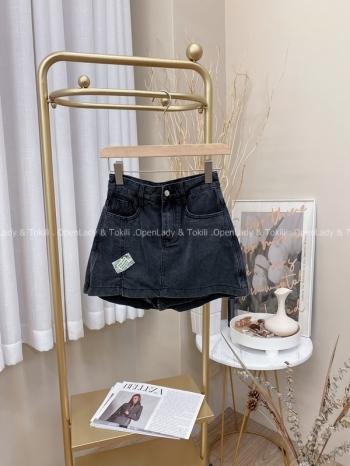 【Z822687】貼布挺水洗丹寧褲裙