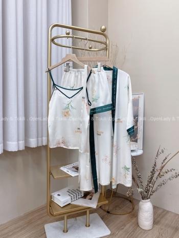 【Z822738】淡水彩花紋三件套睡衣