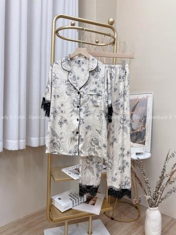 【Z822737】花紋線條蕾絲套裝睡衣