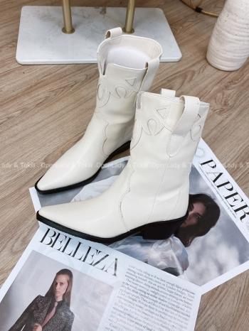 【Z822786】米白色線條騎士西部靴