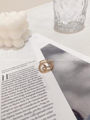 【Z822836】金色線條環繞鈦鋼戒指