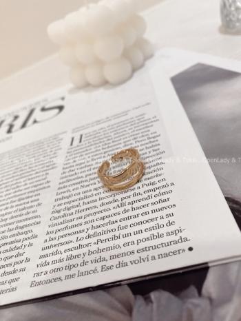 【Z822837】歐美金色簍空鈦鋼戒指