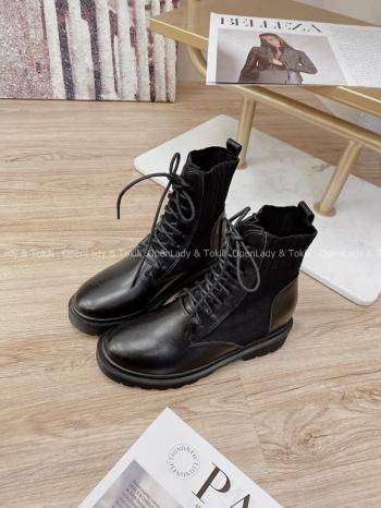 【Z822841】綁帶拼接針織個性短靴