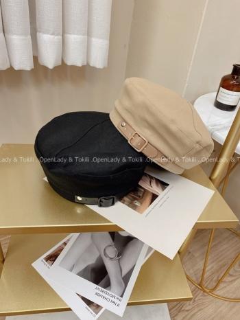 【Z923744】皮革搭釦調節貝蕾帽