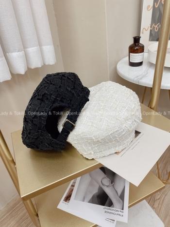 【Z923745】鬆餅格紋路貝蕾帽