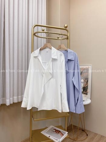 【Z822929】韓系波浪領開襟襯衫