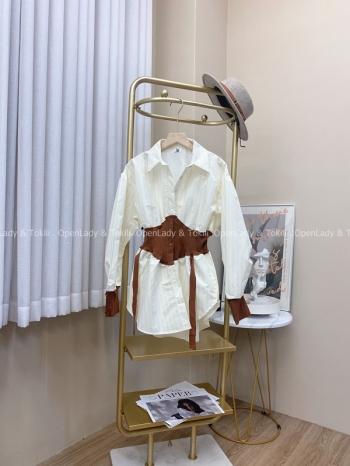 【Z823018】拼接針織縮腰襯衫