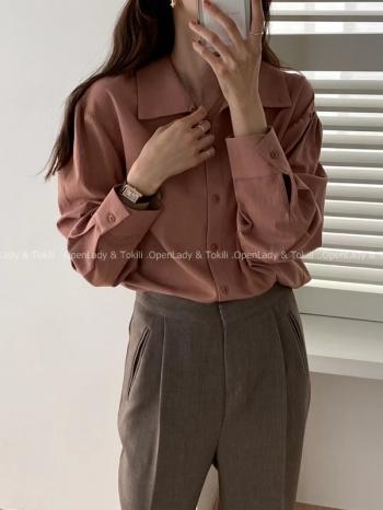 【Z923775】玫瑰粉嫩排扣襯衫