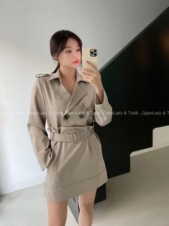 【Z923777】雙排扣腰帶風衣裙套裝