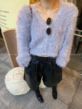 【Z923786】香芋紫兔毛感排扣罩衫