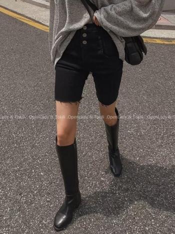 【Z923787】個性高腰三扣鬚邊彈性褲