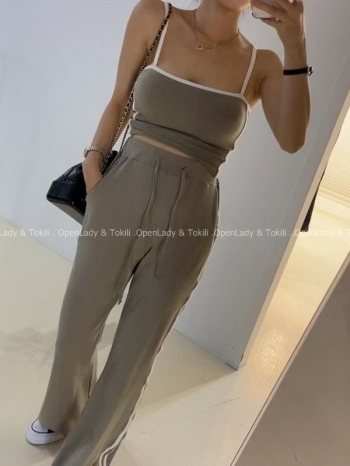 【Z923789】舒適彈性線條棉長褲