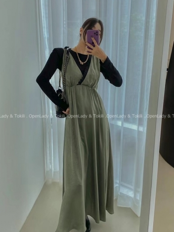 【Z923791】蕾絲拼接鍛感洋裝